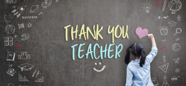 Thank You Teacher greeting for World teacher's day concept with school student back view drawing doodle of of learning education graphic freehand illustration icon on black chalkboard